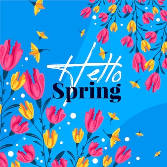 Hello spring floral background