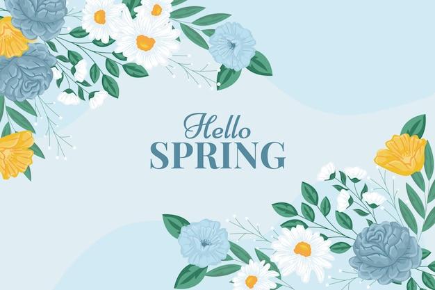 안녕하세요 봄 꽃 배경