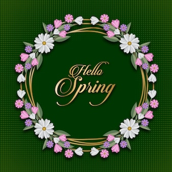 Hello spring floral card template