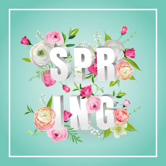 꽃이 피는 봄 꽃 디자인 안녕하세요. 장식, 포스터, 배너, 상품권, 판매, 티셔츠에 대한 장미와 식물 봄 배경. 벡터 일러스트 레이 션