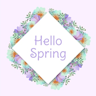 Hello spring floral frame in watercolor