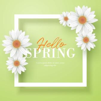 Hello spring floral frame