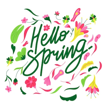 Hello spring floral lettering