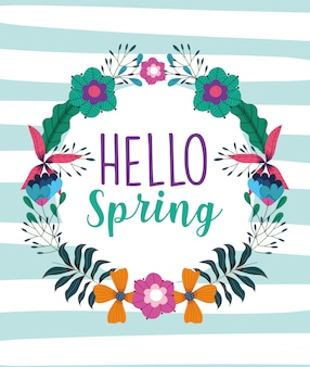 Hello spring, floral wreath flowers leaves nature striped background