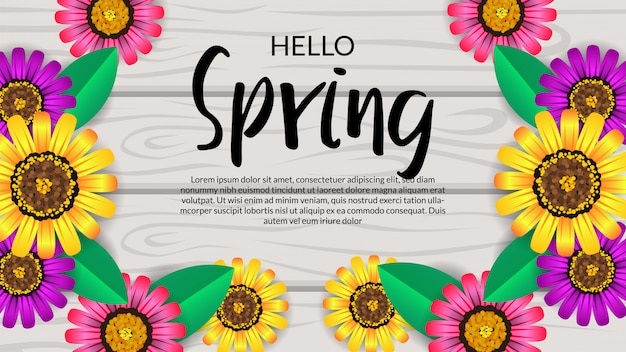 Hello spring flower blossom on the wood background
