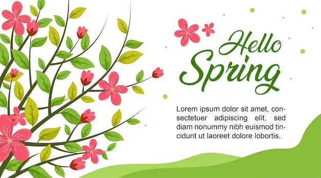 Hello spring flower, spring sale background, spring banner
