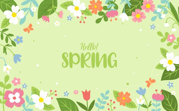 안녕하세요! 봄 꽃 프레임 배경
