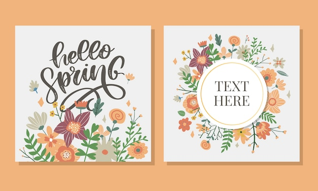Hello spring flowers lettering and frame set