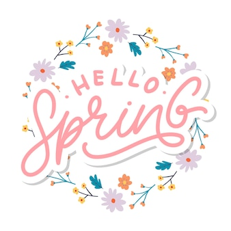 Hello spring flowers text background frame lettering slogan