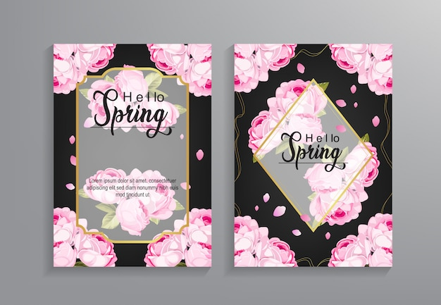 Hello spring flyer template with flower pattern