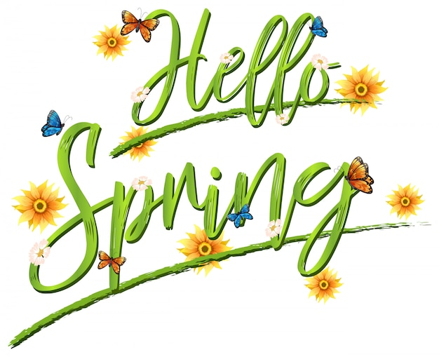Hello spring font lettering