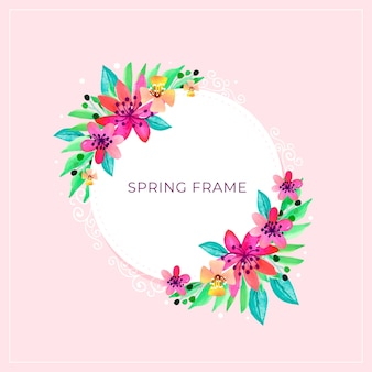 Hello spring frame with explosion of flowers