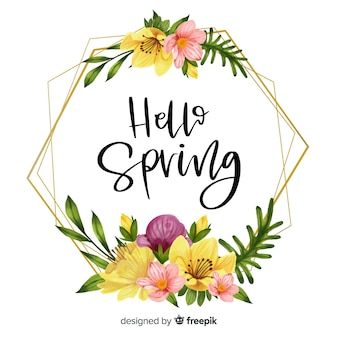 Hello spring frame with floral design