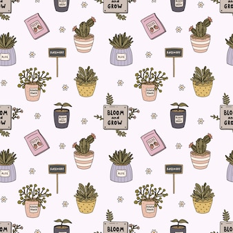 Hello spring and gardening seamless pattern with cute garden tools, flowers, plants in pots in flat outline style.