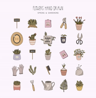 Hello spring and gardening set. garden tools, flowers, plants in pots in flat outline style. isolated.