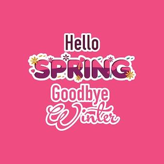 Hello spring goodbye winter vector template design