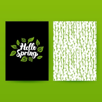 Hello spring green poster. vector illustration of trendy pattern design with handwritten lettering.