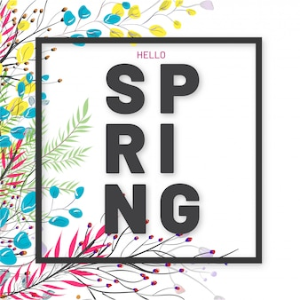 Hello spring greeting card design