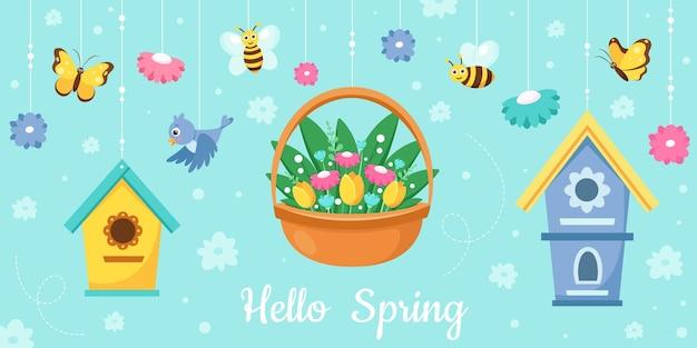 こんにちは春のグリーティングカードのイラストデザイン