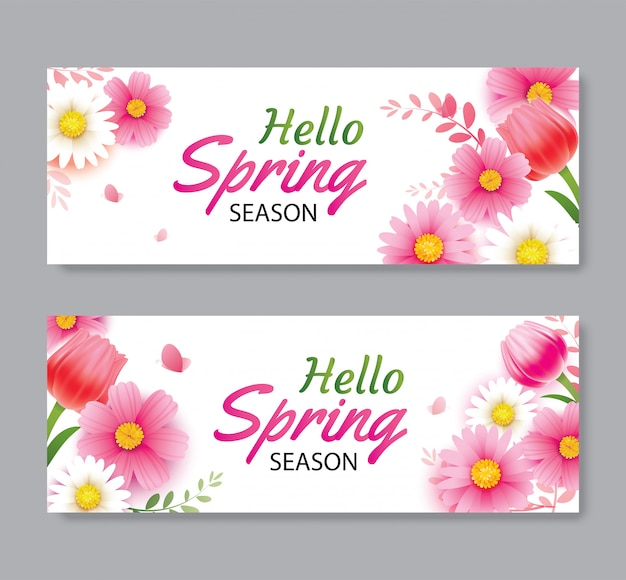 Hello spring greeting card and invitation