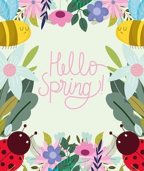 Hello spring greeting card with bees and flowers