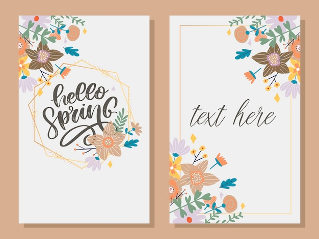 Hello spring - hand drawn inspiration quote.