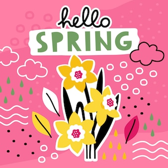 Hello spring hand drawn template with flowers collage.