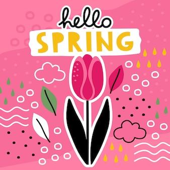 안녕하세요 봄 콜라주와 꽃 손 그려진 된 템플릿.