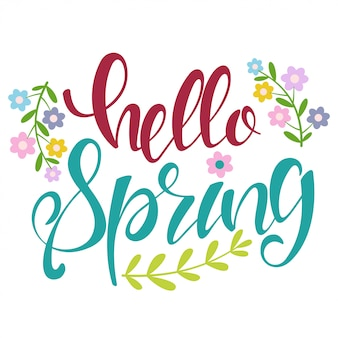 Hello spring hand drawn text with branches and flowers
