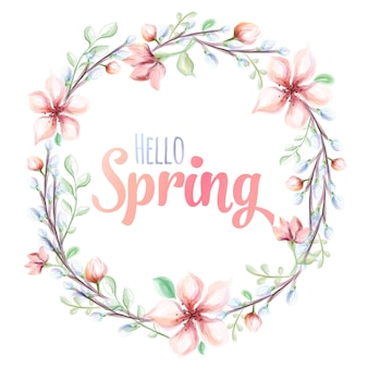 Hello spring hand-drawn watercolor illustration. greeting card with watercolor flower wreath.