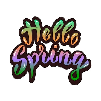 Hello spring. hand lettering phrase.  element for poster, greeting card.  illustration.
