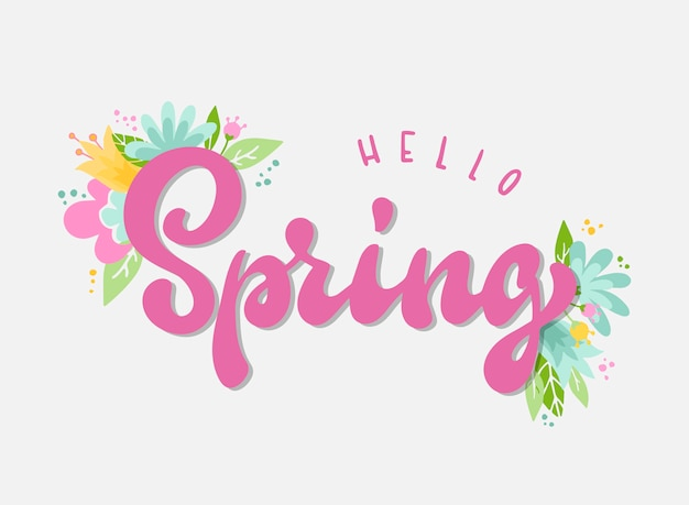 Hello spring hand lettering quote