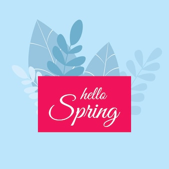 Hello spring hand sketch logo, icon typography icon. spring season lettering with flowers for greeting card, invitation template. retro, vintage lettering banner template poster background.flat