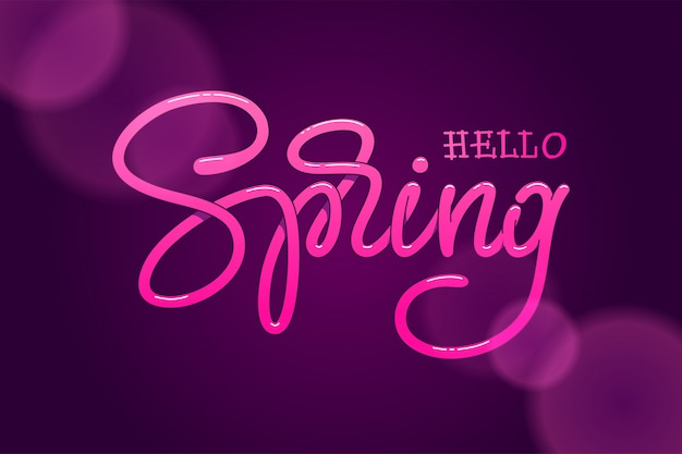 Hello spring hand sketched logotype on a dark violet background. handmade lettering for greeting card, invitation template, banners.  illustration.