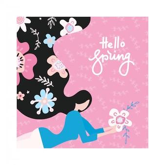 Здравствуй, весна. счастливая девушка мечтает о весне с волосами, полными цветов.