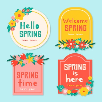 Hello spring is here flat design badge collection