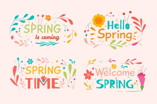Hello spring label collection with leaves and sun