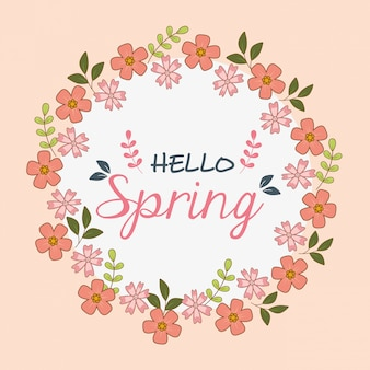 Hello spring label with flowers wreath crown