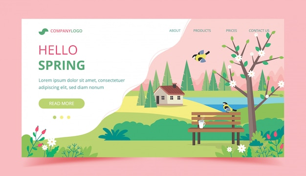 Hello spring landing page design template.
