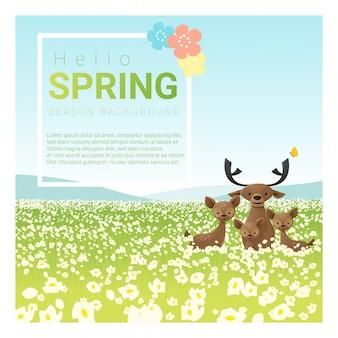 こんにちは鹿家族と春の風景の背景 Premiumベクター