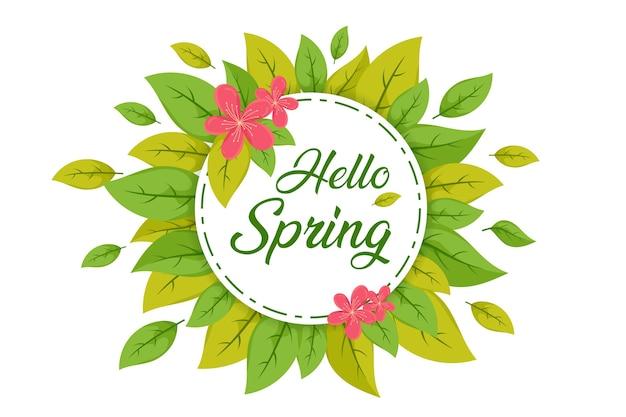 Hello spring leaf, spring sale background, spring banner