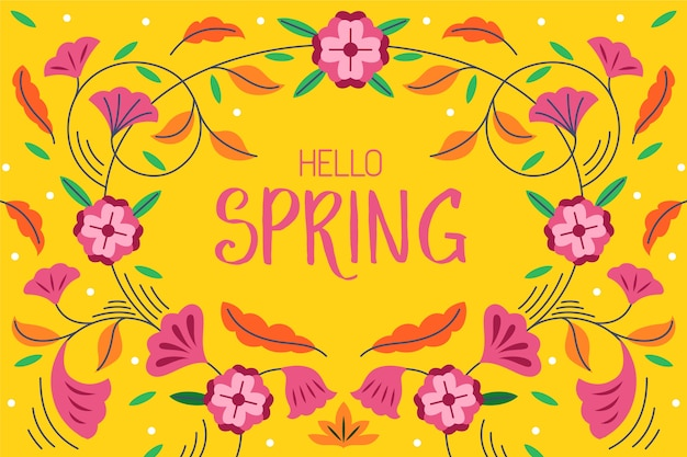 Hello spring lettering background