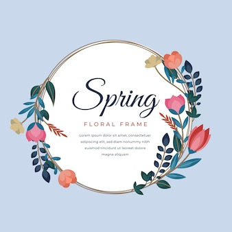 Hello spring lettering in circle floral frame