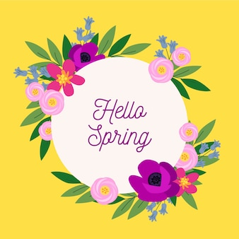 Hello spring lettering in colourful floral frame