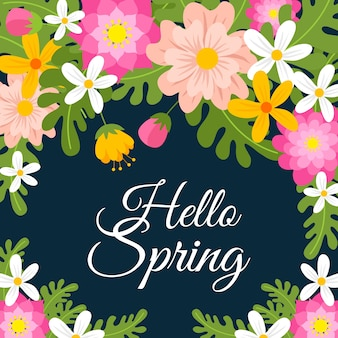 Hello spring lettering concept