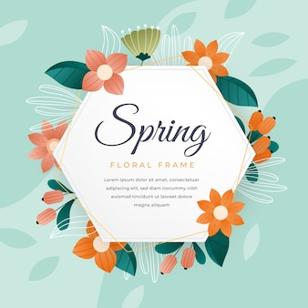 Hello spring lettering in cute floral frame