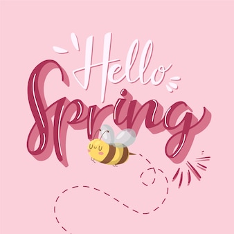 Hello spring lettering design with bee