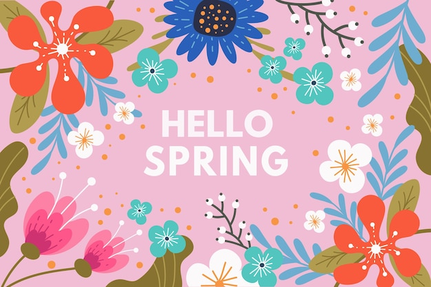 Hello spring lettering design with colorful flowers