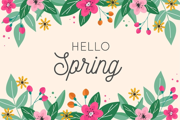 Hello spring lettering design with floral frame