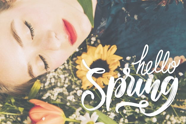 Hello spring lettering design with photo